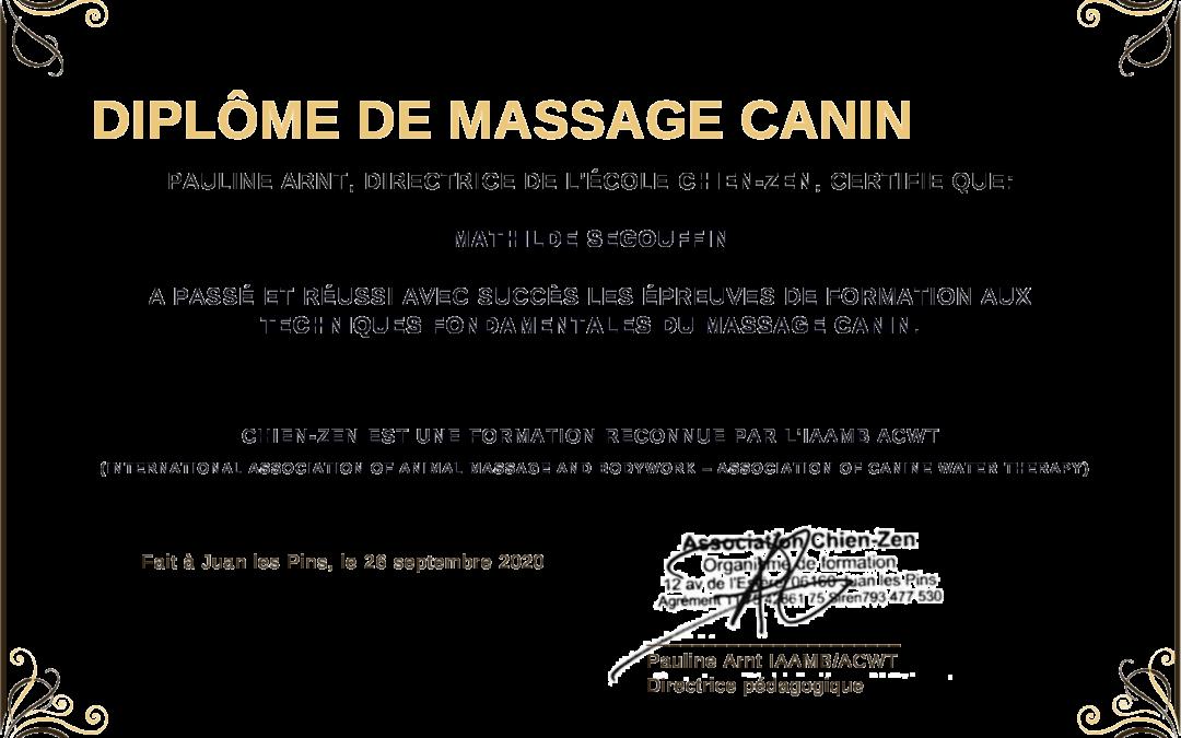 Diplômée en massage canin Chien-Zen